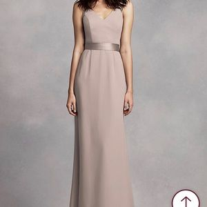 Vera Wang Long V Neck Crepe Gown with Open Back